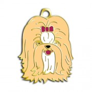 24 Ayar Altın Kaplama Shih-Tzu Köpek Künyesi (Krem)