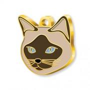 24 Ayar Altın Kaplama Siyam Kedisi Kedi Künyesi (Krem)