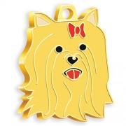 24 Ayar Altın Kaplama York Shire Terrier Köpek Künyesi (Kızıl)