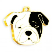 24 Ayar Altın Kaplama Bulldog Köpek Künyesi (Siyah Maskeli)