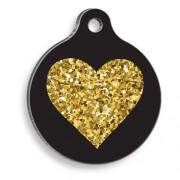 Altın Işıltılı Siyah Kalp Yuvarlak Kedi ve Köpek Künyesi