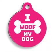 I Woof My Dog Pembe Yuvarlak Köpek Künyesi