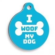 I Woof My Dog Mavi Yuvarlak Köpek Künyesi