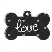 Love Pattern Kemik Şekilli Köpek Künyesi