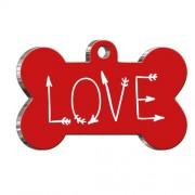 Love Letter Kırmızı Kemik Şekilli Köpek Künyesi