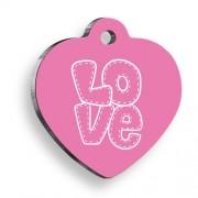 Love Letter Pink Kalp Kedi ve Köpek Künyesi
