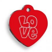Love Letter Kırmızı Kalp Kedi ve Köpek Künyesi