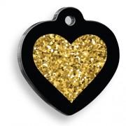 Kalp Altın Işıltılı Siyah Kalp Şekilli Kedi Köpek Künyesi