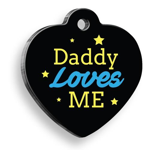 Babam Beni Seviyor Mavi Kalp Şekilli Kedi Köpek Künyesi