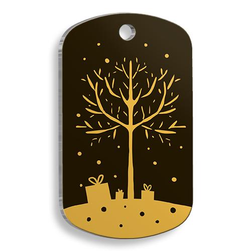 Gold Merry Christmas Tree Asker Kedi ve Köpek Künyesi