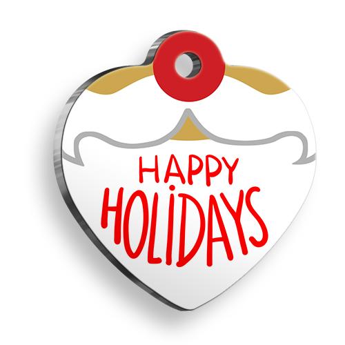 Happy Holidays Kalp Kedi ve Köpek Künyesi