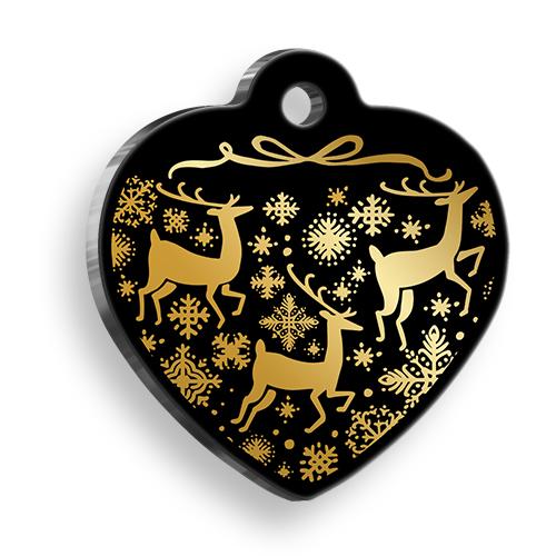Altın Geyikli Kalp Şekilli Kedi ve Köpek Künyesi