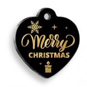 Exclusive Merry Christmas Kalp Kedi ve Köpek Künyesi