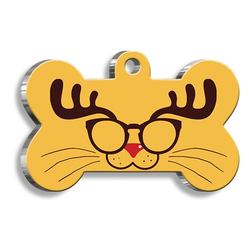 Glasses Cat Kemik Şekilli Kedi ve Köpek Künyesi