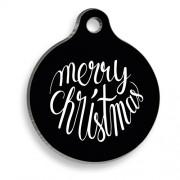 Merry Christmas Siyah Yuvarlak Kedi ve Köpek Künyesi