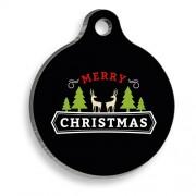 Merry Christmas Geyikli Yuvarlak Kedi ve Köpek Künyesi