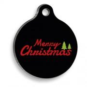 Merry Christmas Çam Ağaçlı Yuvarlak Kedi ve Köpek Künyesi