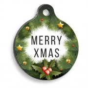 Merry Xmas Pine Tree Yuvarlak Kedi ve Köpek Künyesi