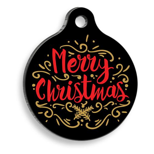 Christmas Black Merry Yuvarlak Kedi ve Köpek Künyesi