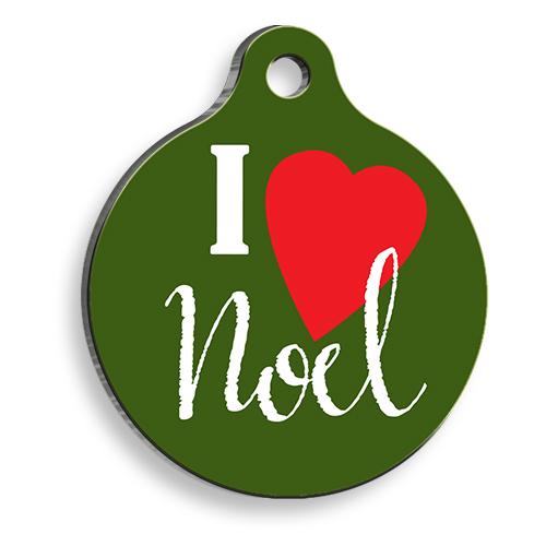 Green I Love Noel Yuvarlak Kedi ve Köpek Künyesi