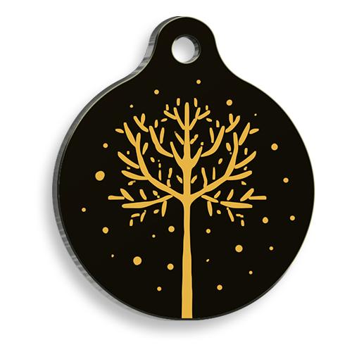 Black&Yellow Tree Yuvarlak Kedi ve Köpek Künyesi
