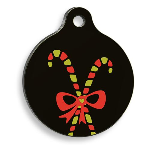 Christmas Black Gift Yuvarlak Kedi ve Köpek Künyesi