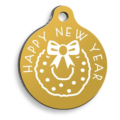Altın Rengi Happy New Year Yuvarlak Kedi ve Köpek Künyesi