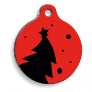 Red & Black Tree Yuvarlak Kedi ve Köpek Künyesi