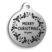 Merry Xmas To You Yuvarlak Kedi ve Köpek Künyesi