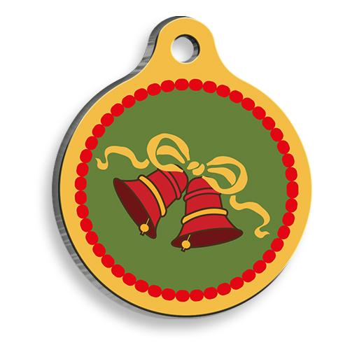 Christmas Bell Yuvarlak Kedi ve Köpek Künyesi