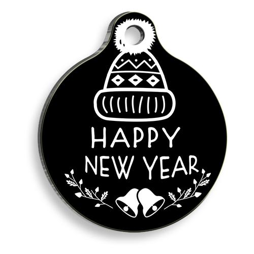 Happy New Year Siyah Yuvarlak Kedi ve Köpek Künyesi