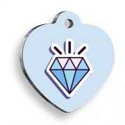 Mavi Diamond Kalp Şekilli Kedi Köpek Künyesi