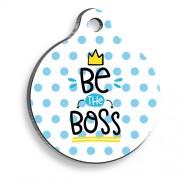 Be The Boss Mavi Yuvarlak Şekilli Kedi ve Köpek Künyesi
