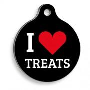 I Love Treats Yuvarlak Kedi ve Köpek Künyesi