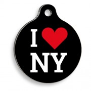 I Love NY Yuvarlak Kedi ve Köpek Künyesi
