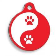 Zen Pati Kırmızı Yuvarlak Kedi ve Köpek Künyesi