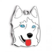 Sibirya Kurdu Köpek Künyesi (Beyaz)