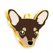 24 Ayar Altın Kaplama Kahverengi Pinscher Köpek Künyesi