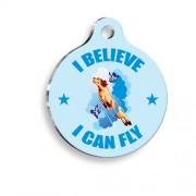 I Can Fly Desenli Yuvarlak Köpek Künyesi