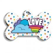 Renkli Puantiyeli Love Kemik Şekilli Köpek Künyesi