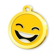 24 Ayar Altın Kaplama Smile Künye - Sarı