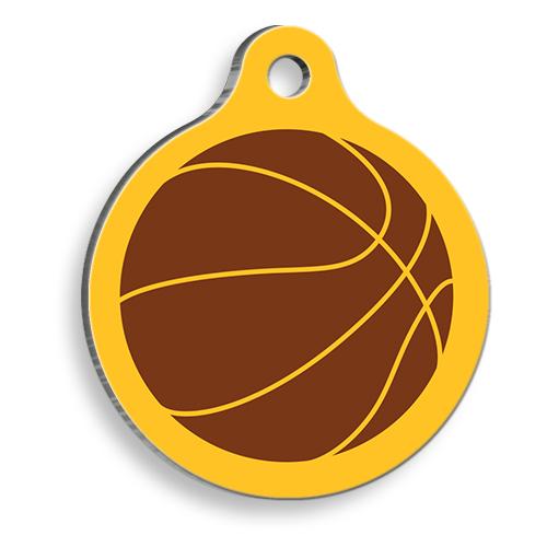 Basketbol Toplu Sarı Yuvarlak Kedi ve Köpek Künyesi