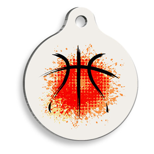 Basketbol Toplu Grafik Yuvarlak Kedi ve Köpek Künyesi