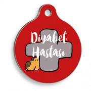 Diyabetik Köpek Kırmızı Yuvarlak Kedi ve Köpek Künyesi