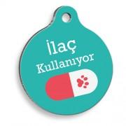 İlaç Kullanıyorum Kırmızı Hap Yuvarlak Kedi ve Köpek Künyesi
