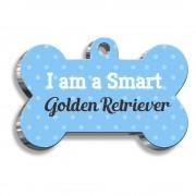 Golden Retriever Mavi Kemik Şekilli Köpek Künyesi