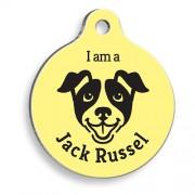 Sarı Jack Russell Yuvarlak Köpek Künyesi