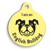 Sarı English Bulldog Yuvarlak Köpek Künyesi
