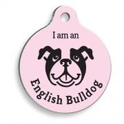 Pembe English Bulldog Yuvarlak Köpek Künyesi