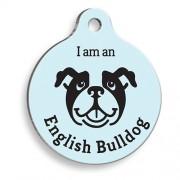 Mavi English Bulldog Yuvarlak Köpek Künyesi